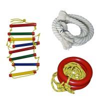 Комплект детского оборудования (канат 2,2 м, кольца, лестница) InterAtletika ST020.123